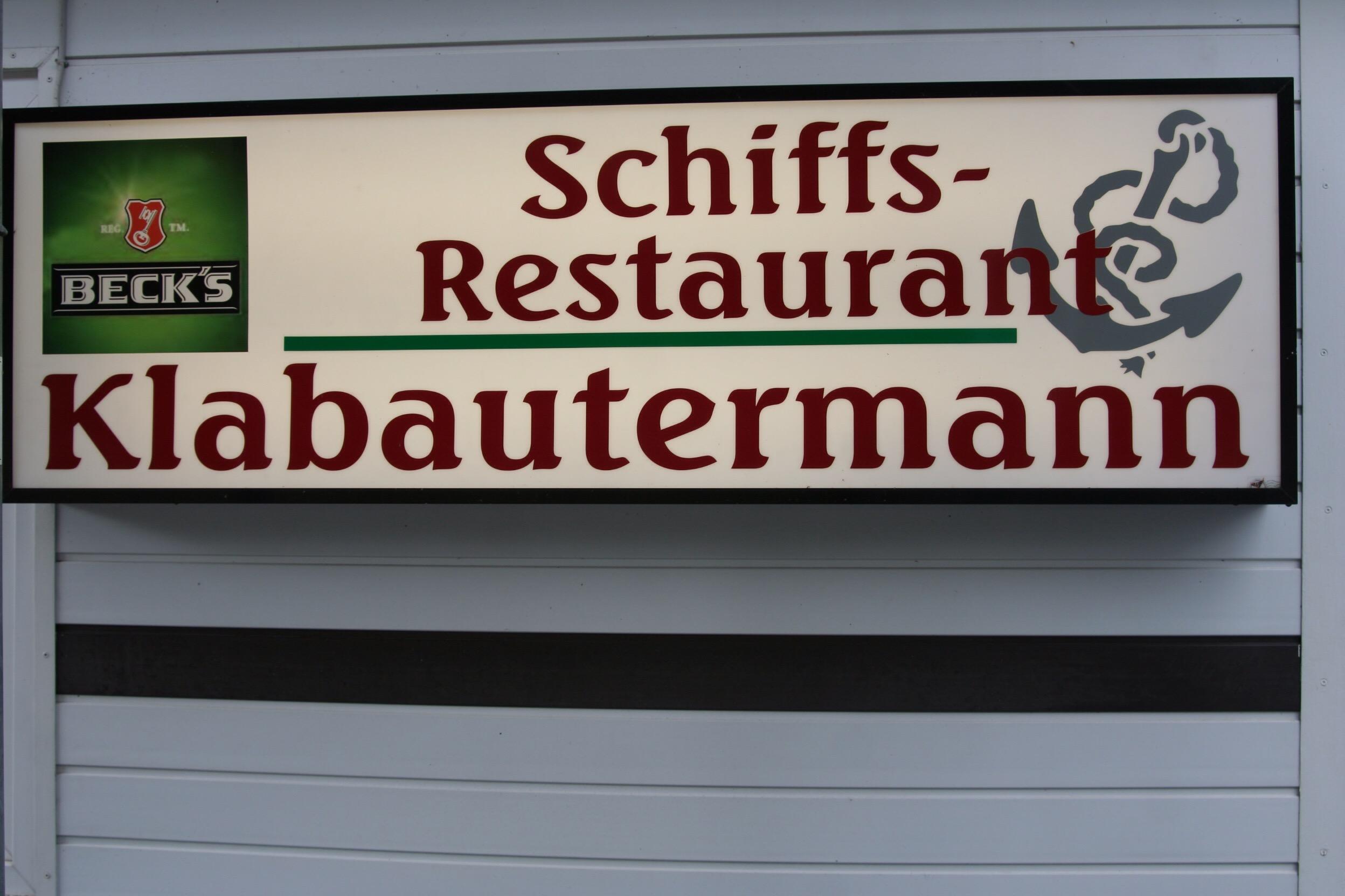 Eingangsschild Schiffrestaurant Klabautermann